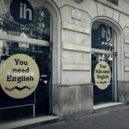 'You need English'. Advertising emblazoned across the wall of a TEFL school in Barcelona.